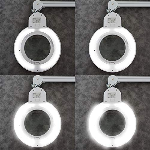 SEMPLIX LED Lupen-Tischleuchte weiß: Mit Einer Tischklemme und Höhenverstellbarem Schwenkarm (60 LEDs, Linse 127mm, 4fach dimmbar)