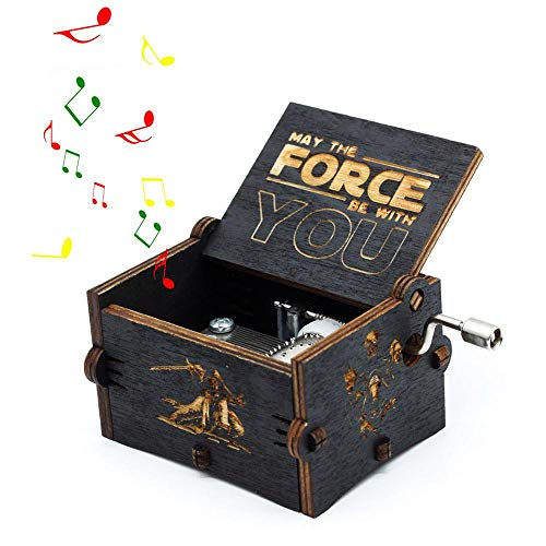 Leegoal Star Wars Wood Muisc Box, Hand Crank Antique Carved Wooden Musical Boxes Best Gift for Birthday -