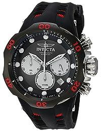 Invicta Men's 'Venom' Quartz Stainless Steel and Silicone Casual Watch, Black (Model: 22349)