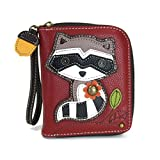 Chala Pal Zip Around Wallet/ Wristlet, Credit Card Slots, Coin Zip Pocket and Strap (Raccoon)