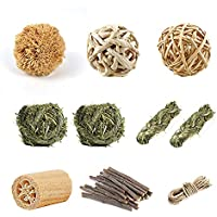 Natural Small Animal Chew Toy Set, Pet Supply Woven Grass Accessories for Bunny Rabbits Guinea Pigs Rats Exercise Teeth…