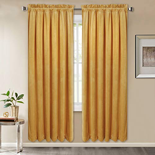 Decor Home Drapes - Home Decor Velvet Drapes - Super Soft Smooth Velvet Light Blocking Curtains Privacy Protect Luxurious Window Treatment Drapes for Dining Room, Warm Yellow, 52