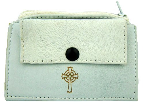 Gold Stamp Irish Celtic Cross on White Leather Rosary Case with Zipper Closure