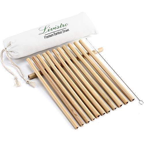 Livistro Premium Bambus Trinkhalme Wiederverwendbare Strohhalme Set mit 12 Bambusstrohhalme und 1 Reinigungsbürste im…