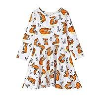 Miklan Cute Forest Series Skirt Girls Cartoon Fox Print Dresses Clothes Outfits For Children Kids Girls (130)