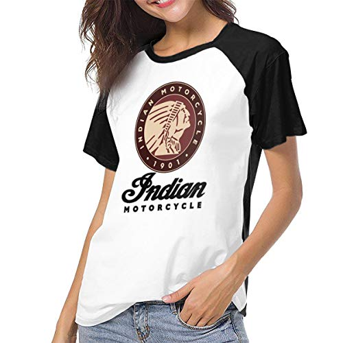 - Fional Womens Raglan Baseball T-Shirt Indian Motorcycle Printed Crew Neck Casual Tee Tops Black