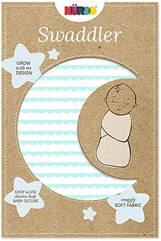 Nuroo The Swaddler One Size for All Babies from Preemie to 9 Months- Scalloped Stripe