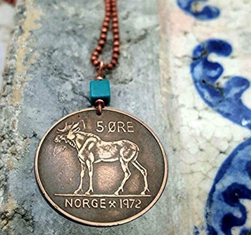 Moose Necklace. Norway Moose Coin Necklace with Turquoise. Vintage Norwegian coin necklace.