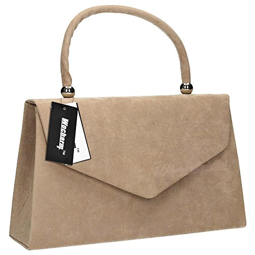 velvet Bridal Evening Wocharm party Prom Ladies Clutch Bag Khaki 1 Clutch Womens Bag Handbag Folds Suede Shoulder WtHH4F8frq