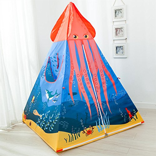 Adventure Pop Up Play Tent - Anyshock Kids Play Tent, Pop Up Baby Ocean Adventure Toys Outdoor Indoor Play Tent House Princess Prince Castle for 1-8 Years Old Kids Boy Girls Toddlers Infants(No LED Light, Octopus Tent)