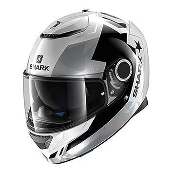 Motocross Casco De Carreras De Tiburón Locomotor Tiburón Doble Lente Esparta Reducción De Ruido (Gris