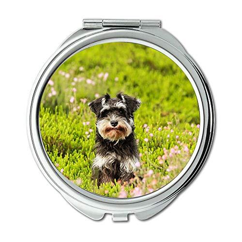 (Yanteng Mirror,Compact Mirror,Dog Heide Grass Schnauzer Puppy Green Nature,Pocket Mirror,Portable Mirror )