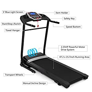 Utheing 2.25HP Electric Treadmill 110V Folding Running Machine, Motorized Power Running Fitness Jogging Treadmill Home Gym Fitness Exercise Equipment Workout Machine from Utheing