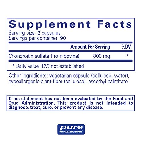 Pure Encapsulations - Chondroitin Sulfate (Bovine) - Hypoallergenic Support for Healthy Cartilage and Joints* - 180 Capsules by Pure Encapsulations (Image #1)