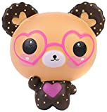 Aolige Squishies Slow Rising Jumbo Kawaii Cute Glasses Bear Creamy Scent for Kids Party Toys Stress Reliever Toy