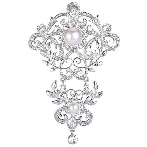 EVER FAITH Silver-Tone Crystal Cream Simulated Pearl