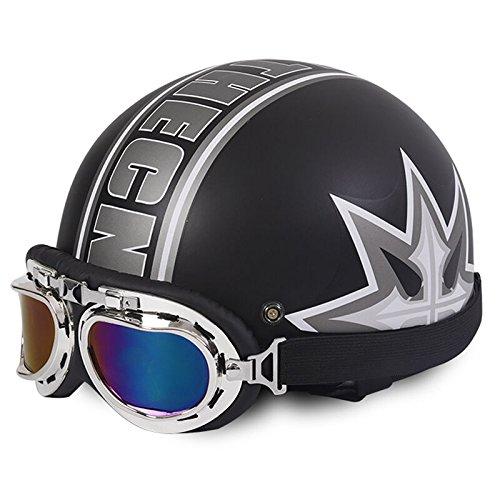 Motorradhelm Motorrad Roller Open Face Halbschalenhelm Scooter gesichtsoffen halbe Helm mit Visier UV-Schutzbrille (Mattenschwarz mit Gras)