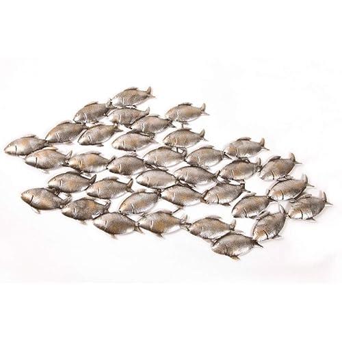 Dipamkar® Large Metal Wall Art Garden Wall Art A Shoal Of Fish Sculpture  Home Garden