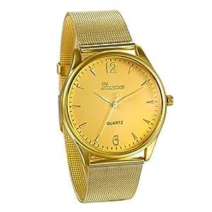 f1fcd228de3c JewelryWe Reloj Dorado de Hombre Correa de Acero Inoxidable