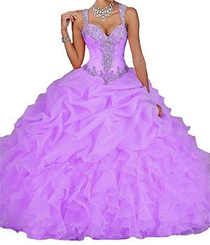 Dydsz Women's Quinceanera Dresses Prom Party Dress Beaded Ball Gown Cheap D18 Lavender 4