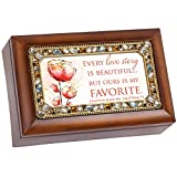 Love Story Jeweled Wood Finish Jewelry Music Box - Plays Tune Eye on the Sparrow