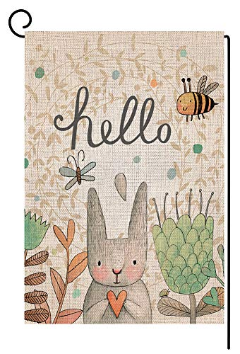 (BLKWHT Hello Easter Bunny Garden Flag Vertical Double Sided 12.5 x 18 Inch Spring Rabbit Yard Decor)