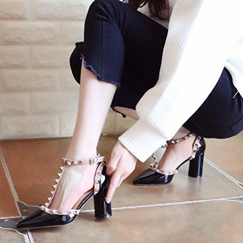 y luz Alto ranurado Qiqi versátil Negro Solo Cuero Zapatos Zapatos Baile Xue de Negra de Tribunal Grueso Zapatos Remache Zapatos de Pintada Tacón Sandalias Punta de con los Mujer Zapatos g8nawZ8Aq