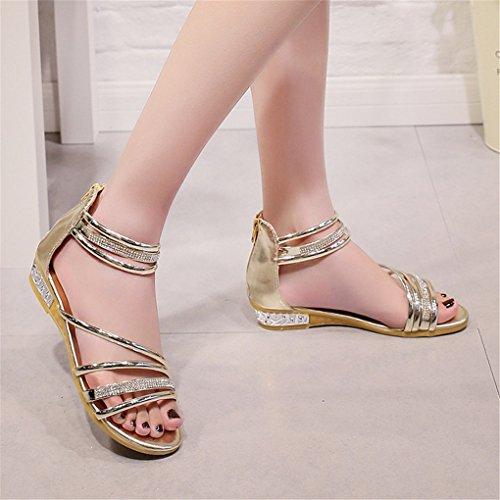 NEWZCERS Sandalias puras de los rhinestones del color de las mujeres del verano de la manera Oro