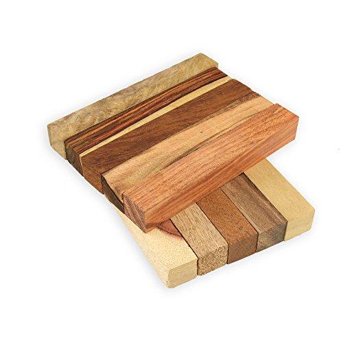 Legacy Woodturning, Exotic Wood Pen Blanks, 10 Piece Variety Pack. Cocobolo, Tigerwood Ebony, Teak, Monkeypod, Mango, Mahogany, more.