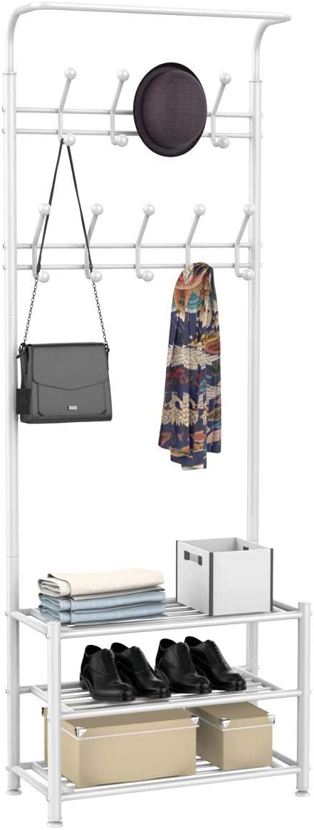 Yaheetech Metal Clothes Coat Stand with 3 Shelves Shoe Rack, Multi Function Entryway Organiser, 18 Hooks Hat Umbrella Bag Stand, 187cm White