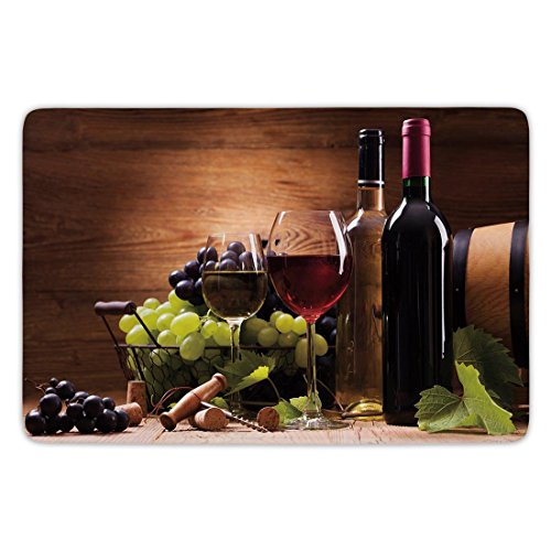 Bathroom Bath Rug Kitchen Floor Mat Carpet,Wine,Glasses of Red and White Wine Served with Grapes French Gourmet Tasting Decorative,Brown Ruby Light Green,Flannel Microfiber Non-slip Soft Absorbent