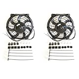 """JSD Qty (2) 10"""" Inch Universal Slim Fan Kit for Radiator Cooling Push or Pull 3670"""