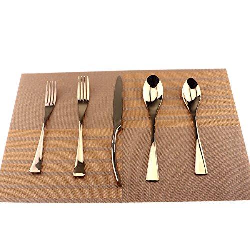 Bronze Fork - Uniturcky Silversmiths 20 Piece Beacon Flatware Set, Copper Mirror/Rose Gold, Service for 4