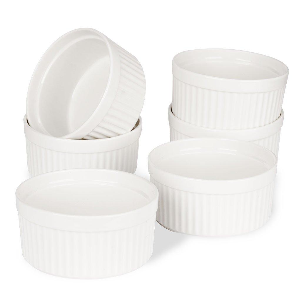 Porcelain Ramekins, SZUAH Ramekin Set of 6, 8oz for Baking, Creme Brulee, Souffle, Appetizer, Custard, Pudding, Dipping Bowl. by SZUAH