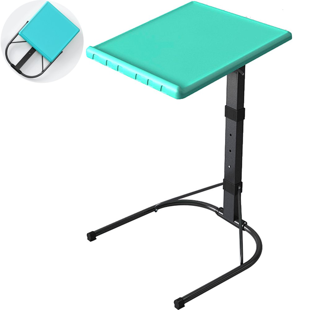 TINTON LIFE Portable Fully Foldable TV Tray Adjustable Height Tray Removable Side/Snack/End Table for Bed Sofa Laptop Desk Stand Easy Storage, Blue