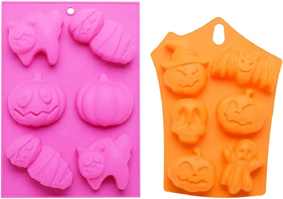 ANMAIKER Silicone Baking Molds, 2 PCS Halloween Silicone Cake Molds, Nonstick Cake Pan Muffin Mold, Halloween Baking Supplies for Kitchen DIY Baking Tools