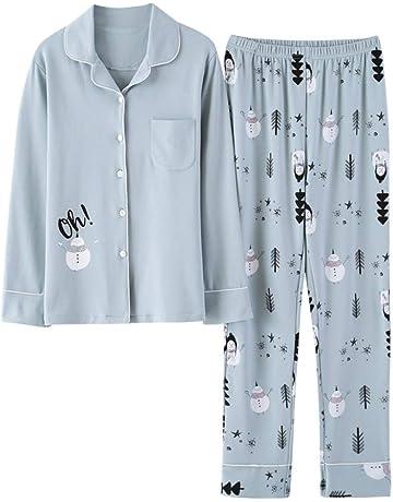 TENGTENGCAI Nueva y Elegante Mujer Pijama de algodón de Primavera y otoño  Trajes Dama Manga Larga febc845e80ffc