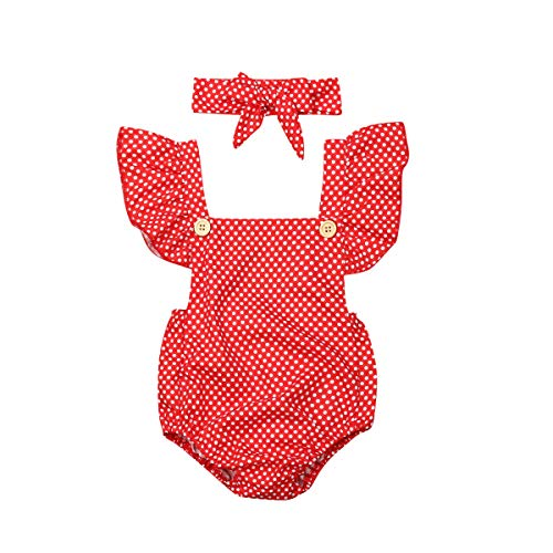 Toddler Infant Baby Girls Fly Sleeve Polka Dots Romper Collar Buttons Jumpsuit Backless Bodysuit Summer Outfits (18-24 Months, Red) ()
