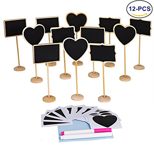 LJDJ 12 pcs Reusable Mini Chalkboard Signs with Support Easel + 2 Chalkboard Markers + Cleaning Cloth for Message Board Signs Wedding Party Table Numbers Place Card Decorative (Chalkboard Cloth)