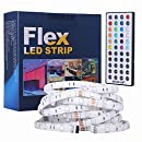 Tingkam Waterproof 5M 5050 SMD RGB Led Strips Lighting Kit with 44 Key IR Remote Controller