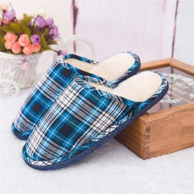 colore solido interno in 39 home fascettatrice lavare ragazza donne di pavimento matura legno pantofole cotone 38 il griglia blu silenzioso In tela uomini e laghi inverno del fondo pavimento home vagwqt0xEn