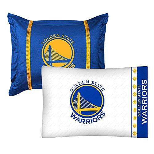 - 2pc NBA Golden State Warriors Pillowcase and Pillow Sham Set Basketball Team Logo Bedding Accessories
