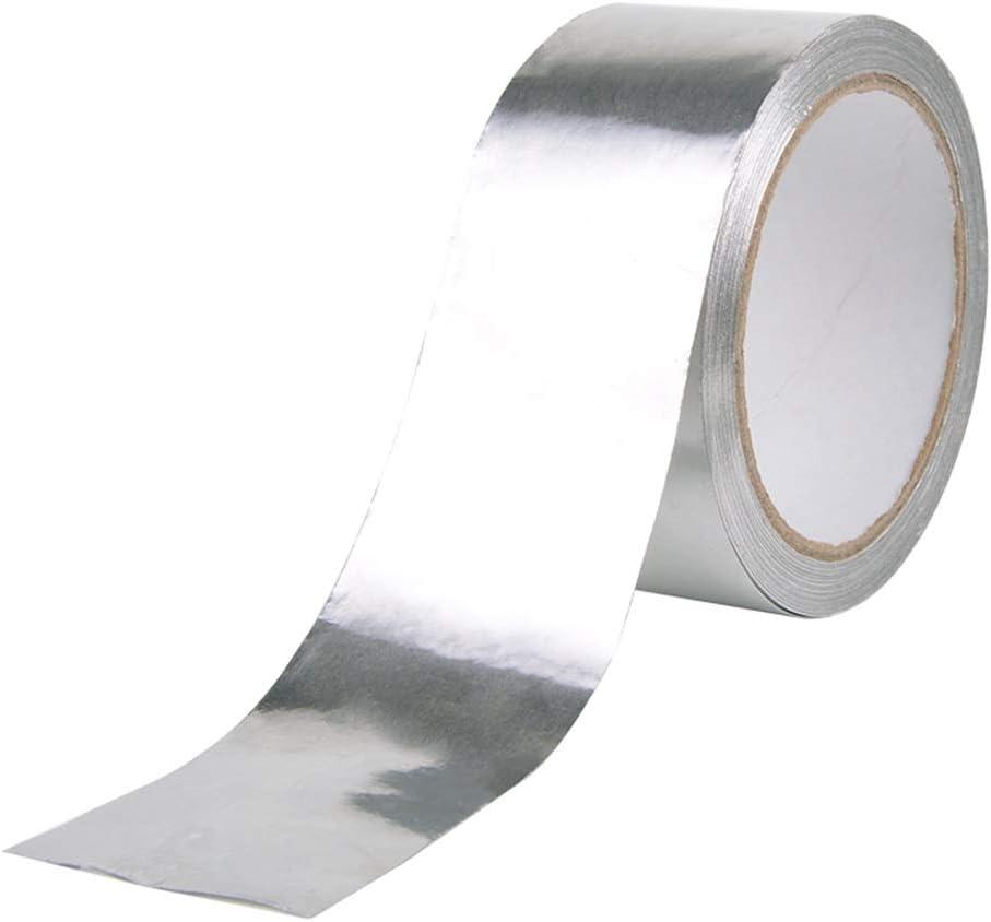 Utilizada para Reparaci/ón Plateado Aluminio Cinta Adhesive Sellado etc. Resistencia a Altas Temperaturas Hitopin 1 Pieza 50m x 50mm Cinta Adhesiva de Aluminio