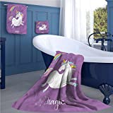 familytaste Unicorn Customized bath towel combination Mythical Animal with Clouds and Rainbow Figure Fairy Cute Unicorn Image Print fancy hand towels set Purple White