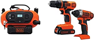 BLACK+DECKER BDINF20C 20V Lithium Cordless Multi-Purpose Inflator (Tool Only) with Black & Decker 20V MAX Drill/Driver Impact Combo Kit