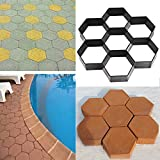 lovely design ideas for a concrete patio CHICTRY Hexagon Path Pavement Mold Walk Maker DIY Driveway Patio Gardening Premium Plastic Reusable Concrete Cement Stepping Stone Mold