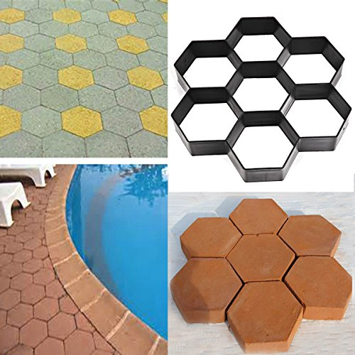 CHICTRY Hexagon Path Pavement Mold Walk Maker DIY Driveway Patio Gardening Premium Plastic Reusable Concrete Cement Stepping Stone Mold