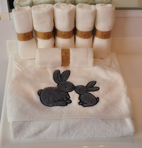 Organic Bamboo Baby Hooded Towel AND washcloth set | 7 Pack | By Cuddle Bunny Organics | Extra soft and gentle | Great gift for baby showers, newborns and toddlers | Perfect for the bath,beach or pool
