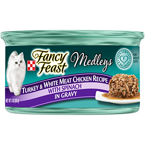 - Purina Fancy Feast Medleys Turkey & White Meat Chicken Recipe With Spinach In Gravy Adult Wet Cat Food - (24) 3 Oz. Cans