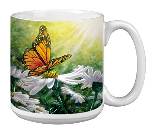 - Tree-Free Greetings Extra Large 20-Ounce Jumbo Ceramic Coffee Mug Cup, Rays Of Light Themed Butterfly Art - Gift for Lovers of Butterflies (XM29503)